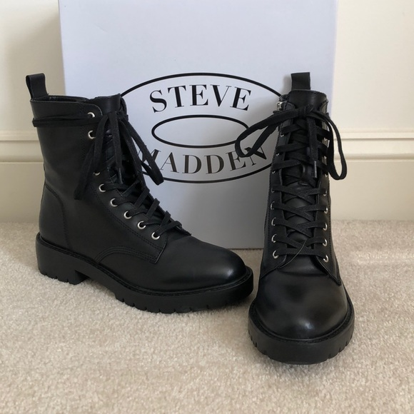 96997142070 Steve Madden Black Leather GRID Combat Boots. M 5c6ee23b194dad3a1410c913